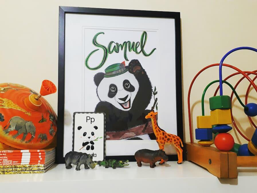 Personalised Panda Framed