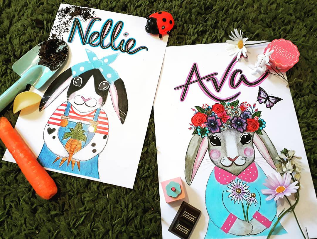 Personalised Girlie and Tomboy Rabbits