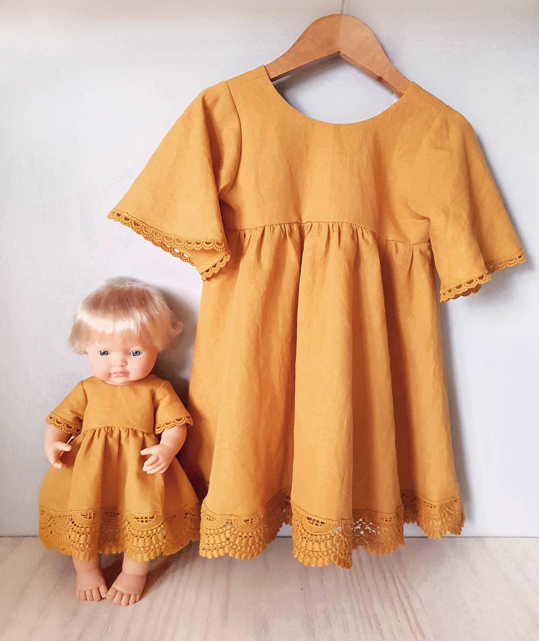 Girls and Dolls matching dresses