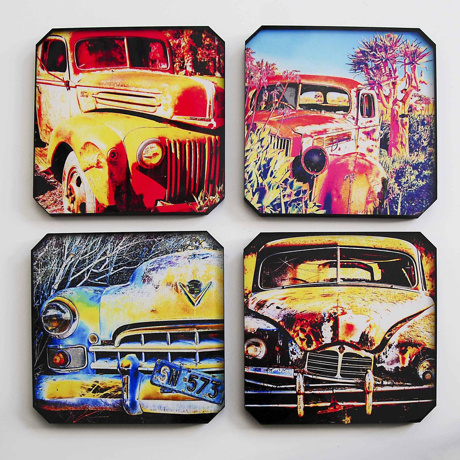 Acrylic photo coasters of retro cars - also custom made