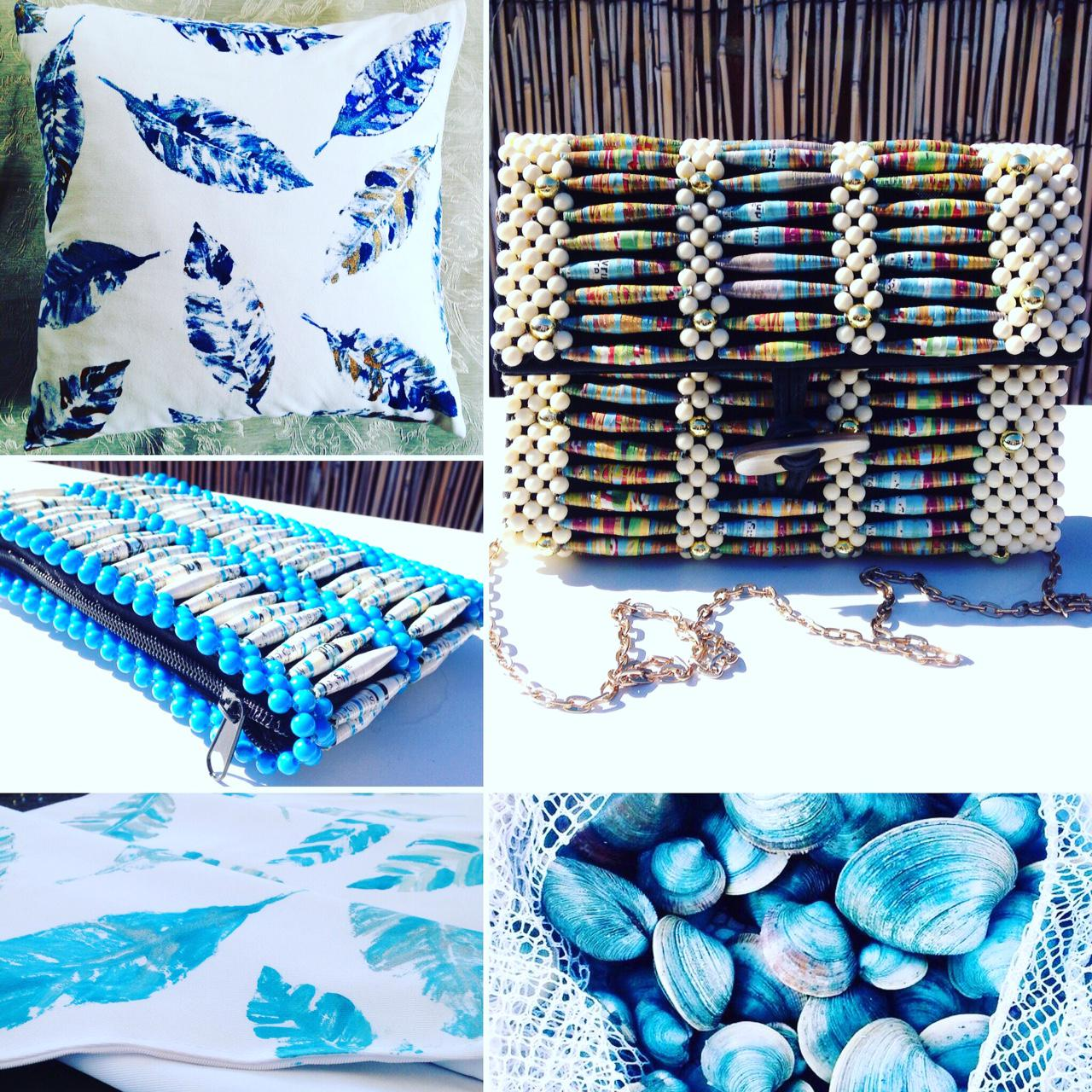 BEAUTIFUL & BLUE! Recycled Magazine/Leather Handbags & Textile Designs
