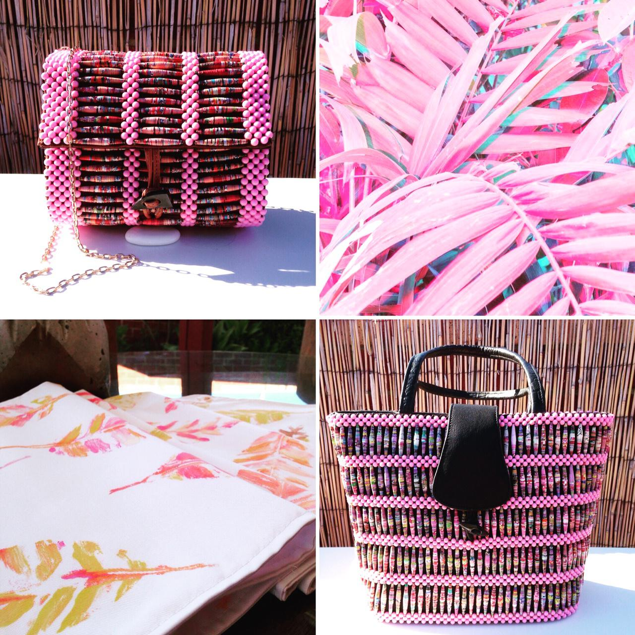 POP OF PINK! Recycled Magazine/Leather Handbags & Textile Designs