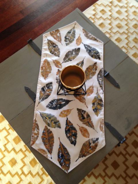 Handpainted Leaf Print Table Runners