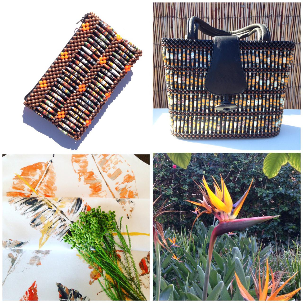 TROPICAL PARADISE - Recycled Magazine/Leather Handbags & Textiles