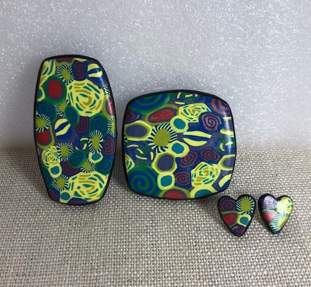 Polymer clay Pendants & matching Studs