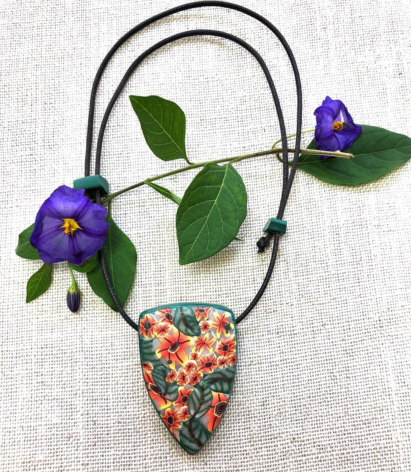 'Yellow Wild Flowers' polymer clay pendant on adjustable waxed cotton cord