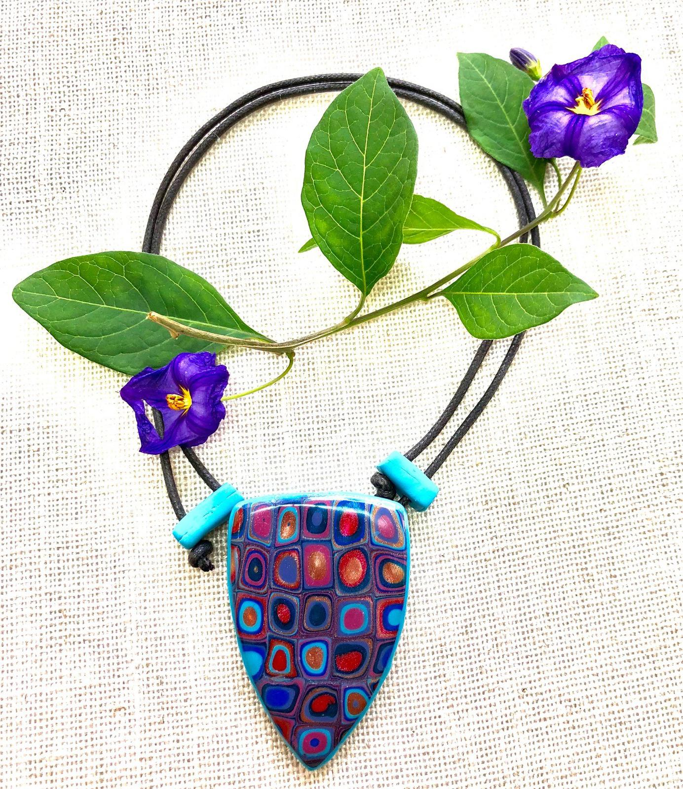 'Retro Memories' polymer clay pendant on adjustable waxed cotton cord