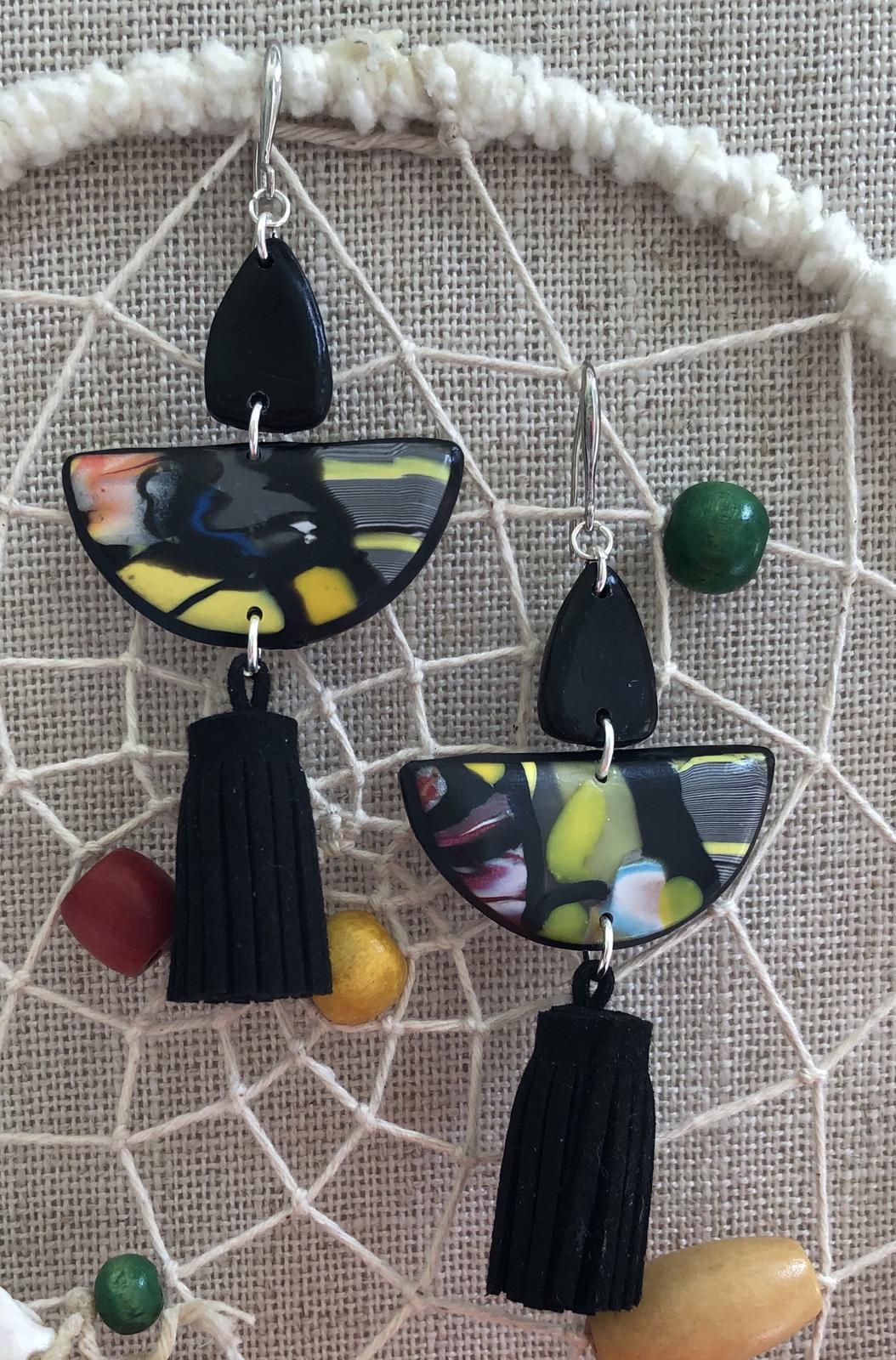 Tassel earrings polymer clay