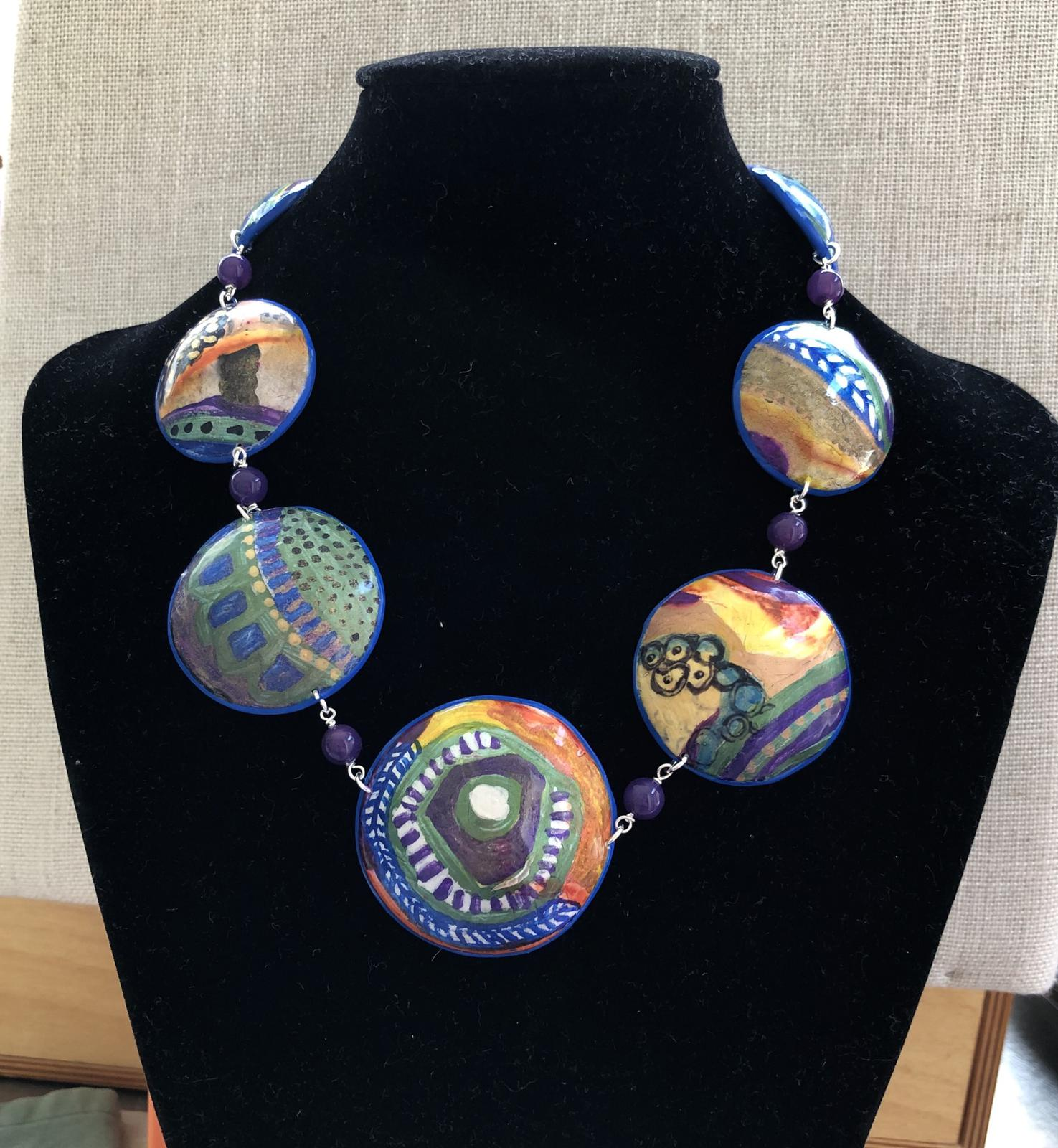 Statement neckpiece in polymer clay and inks