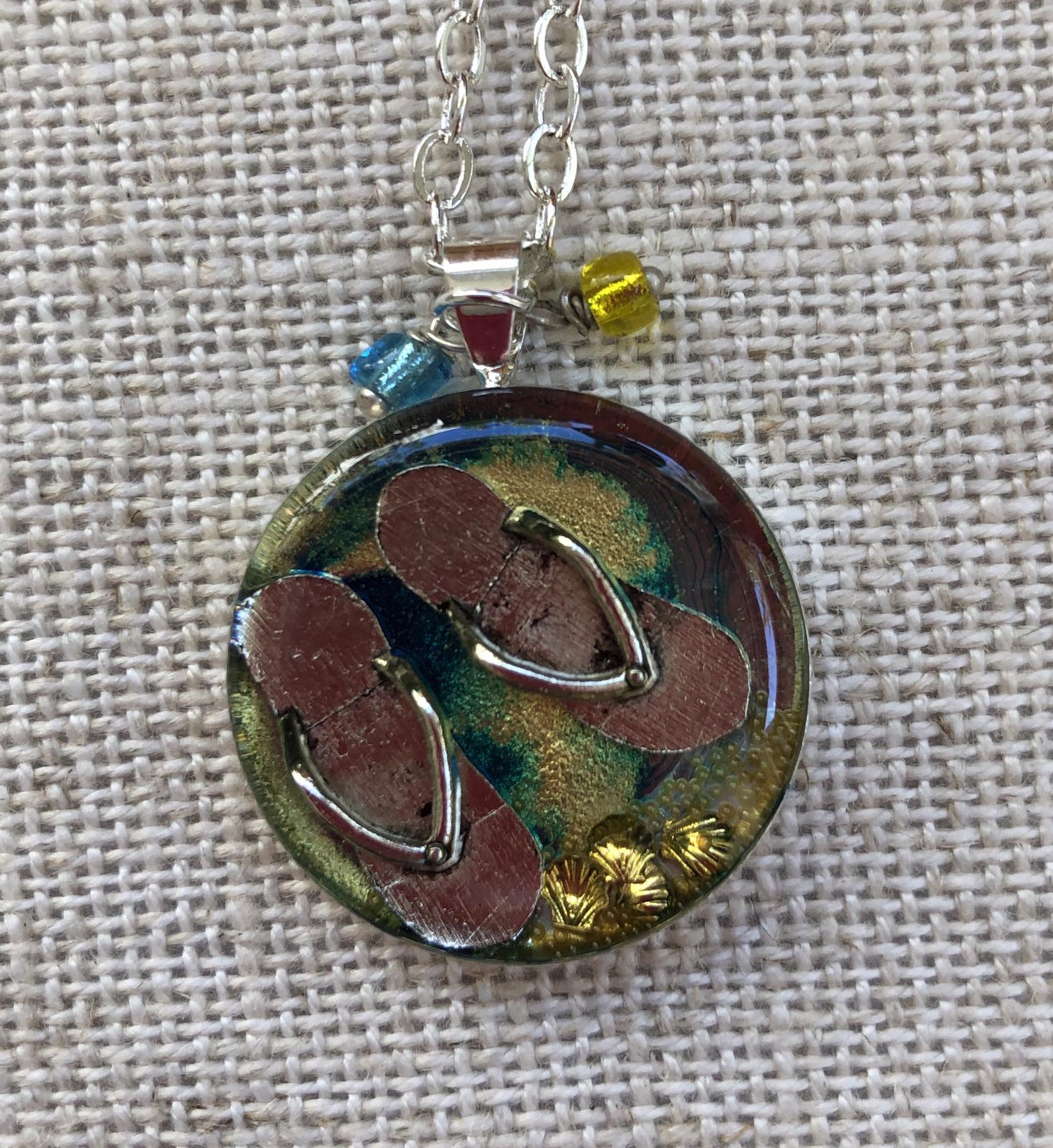 Summer at the Beach resin pendant 25mm