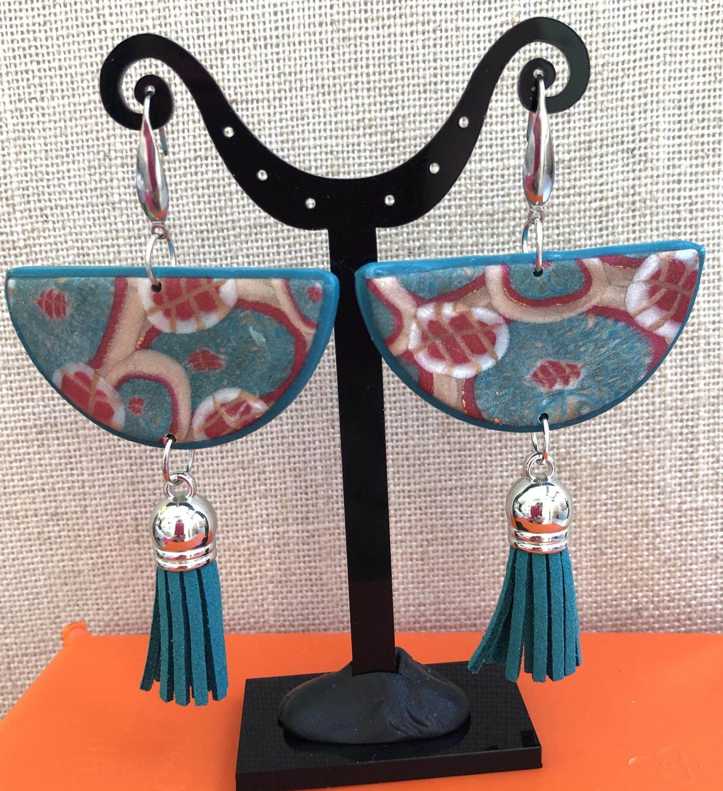 Loving Japan - tassel statement earrings in polymer clay