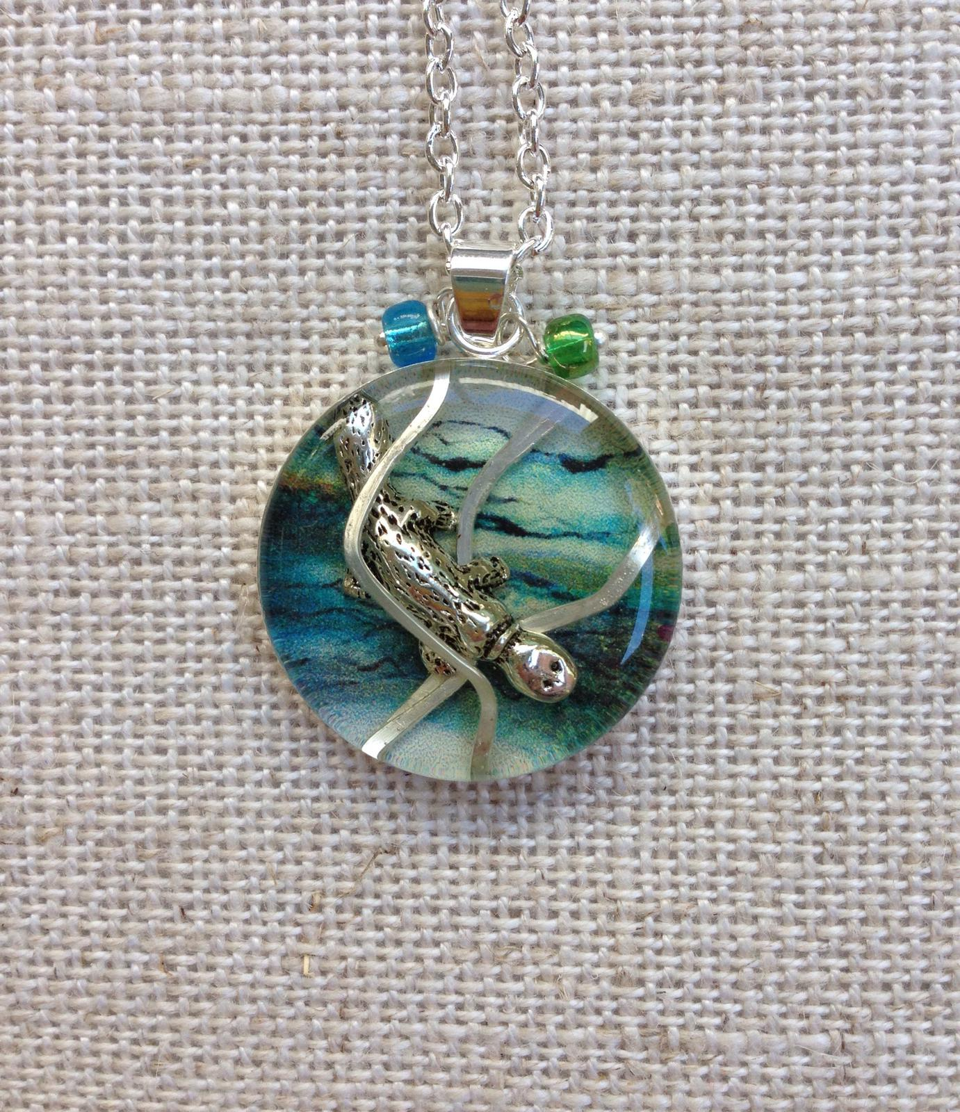Outback Animals - Platypus. Resin, hammered silver wire and charm Pendant 25mm