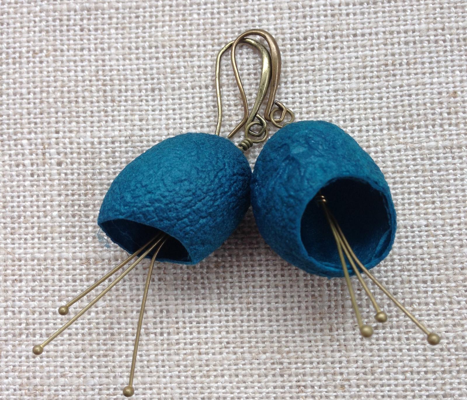 Silkworm cocoon earrings