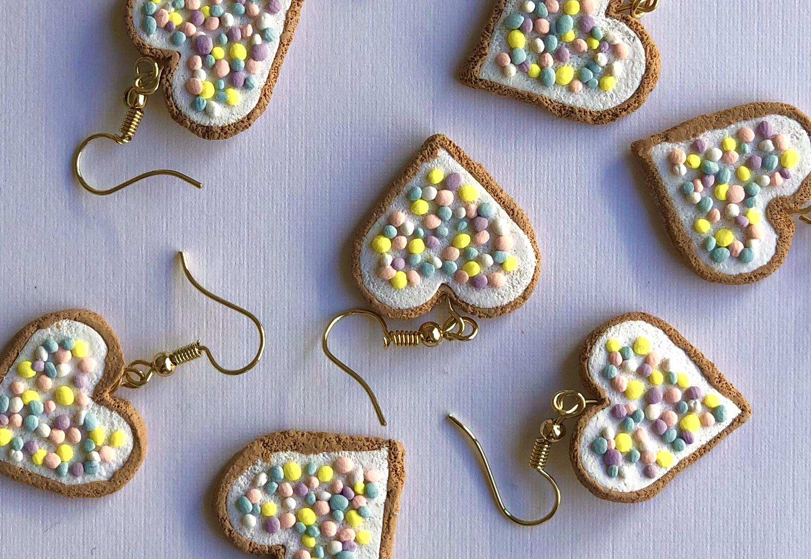 Handmade Polymer Clay Pastel Heart Fairy Bread Earrings