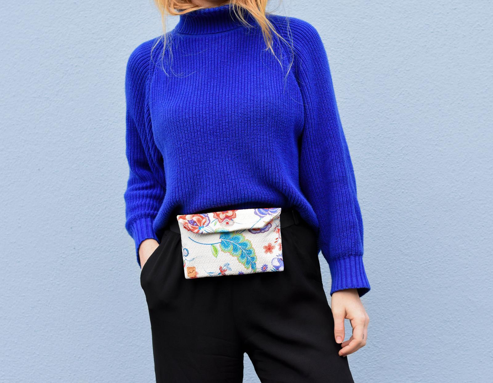Cream floral belt bag
