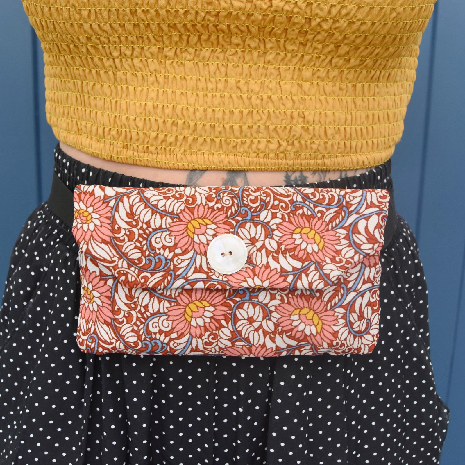 Red floral belt bag