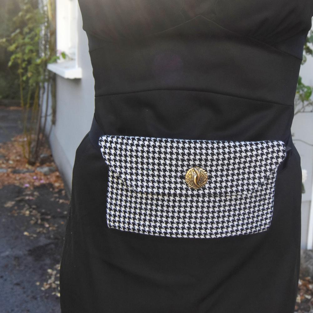 Black houndstooth belt bag