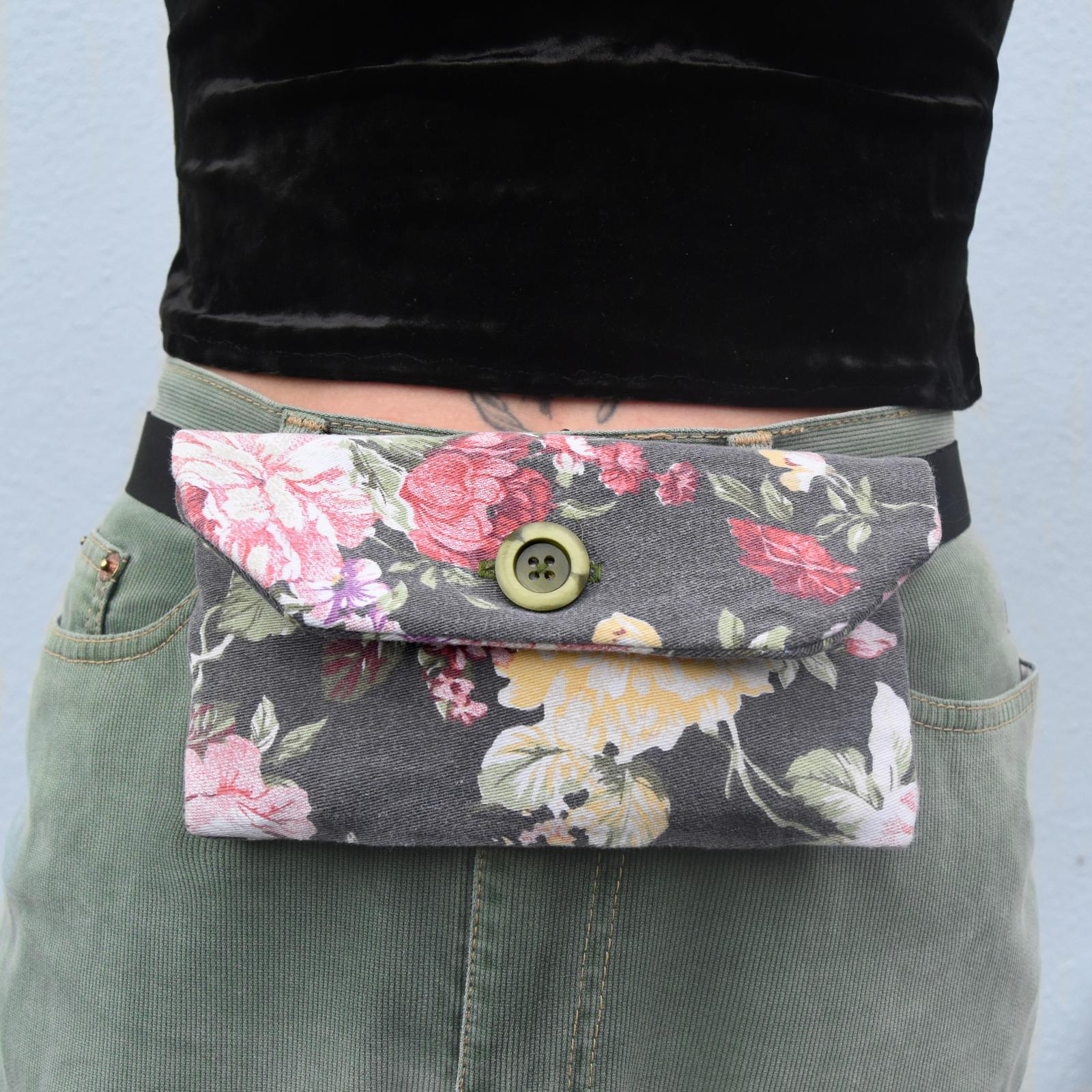 Denim floral belt bag