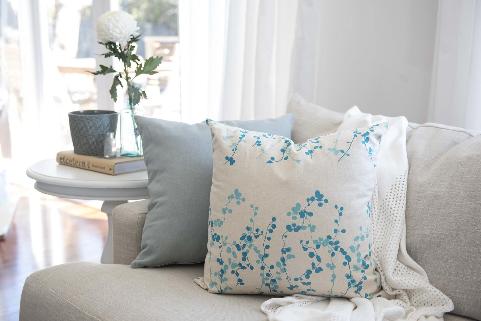 'Cascades' hand printed cushion