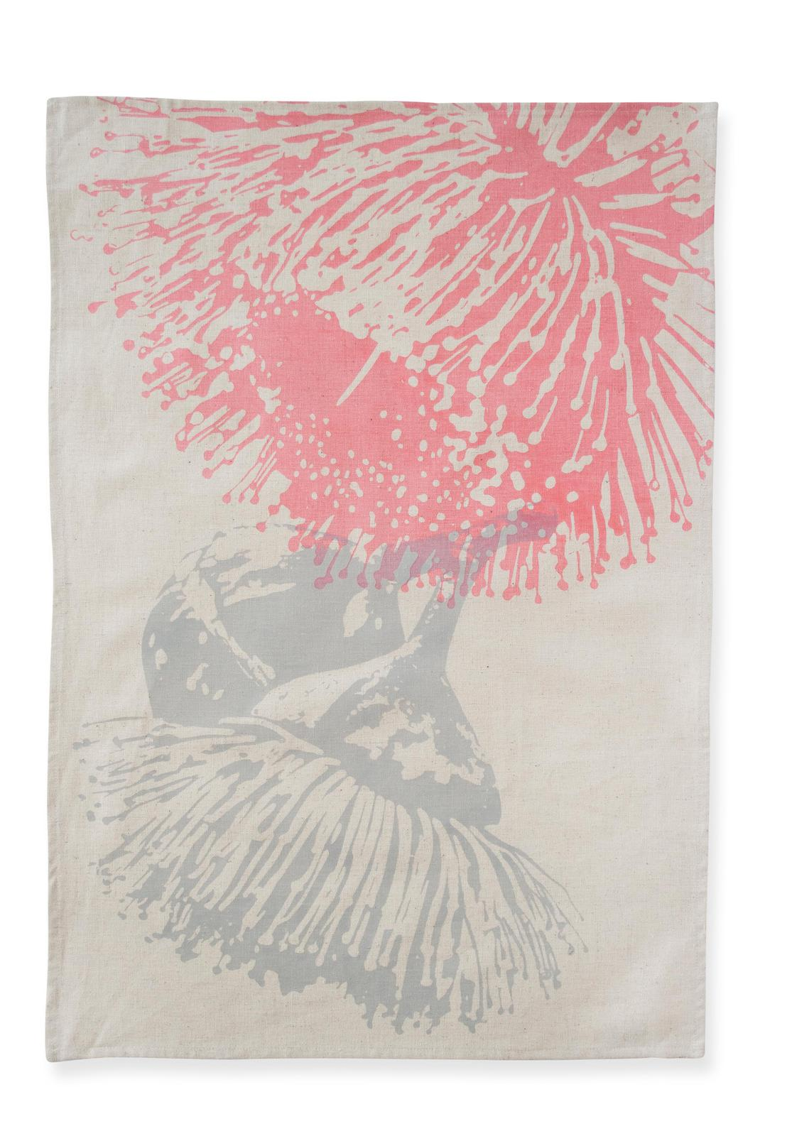 Mallee Blossom Tea Towel in Pink & Grey