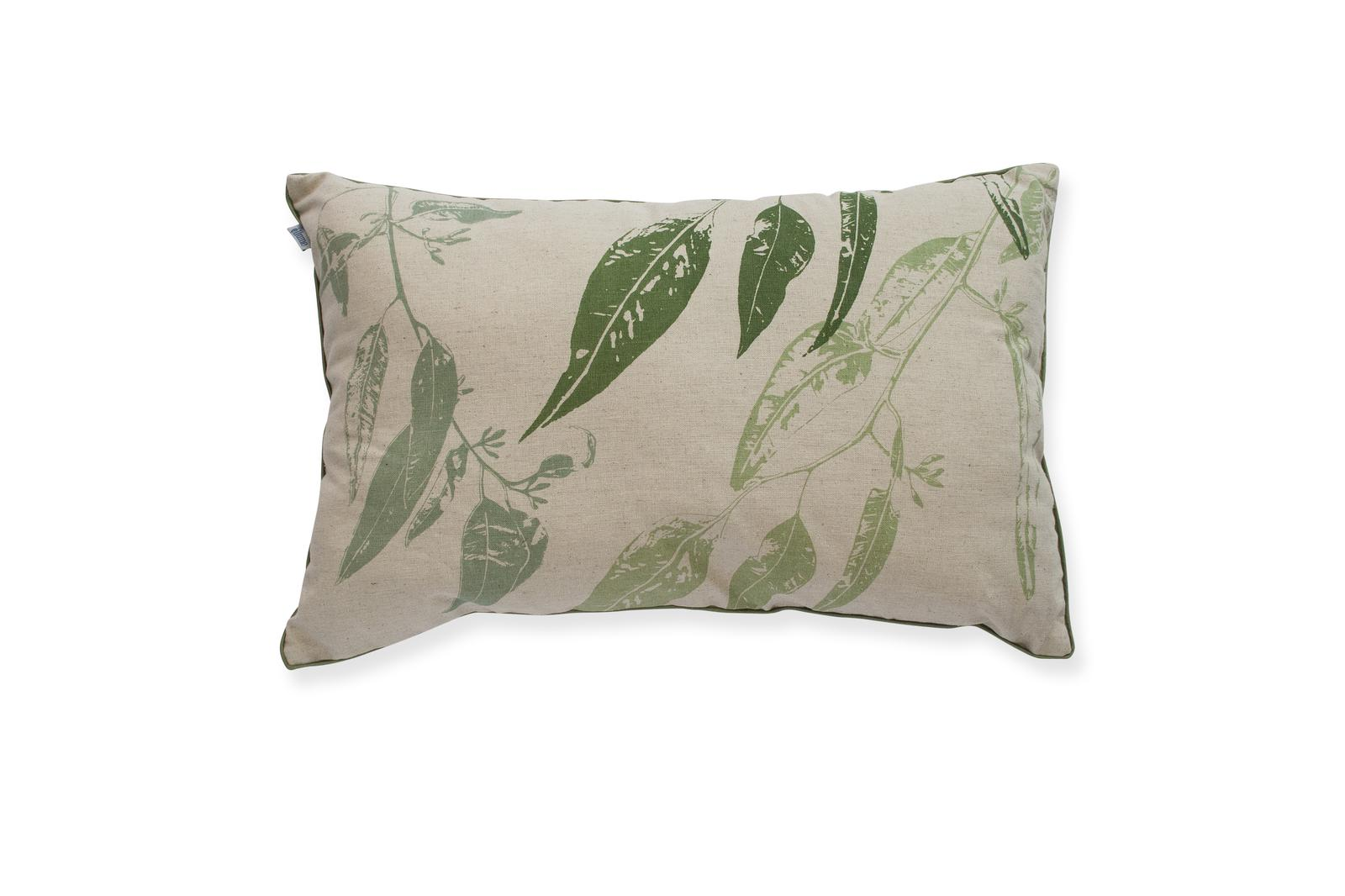 50x30cm Cushion 'Jarrah Leaf' in greens with green piping