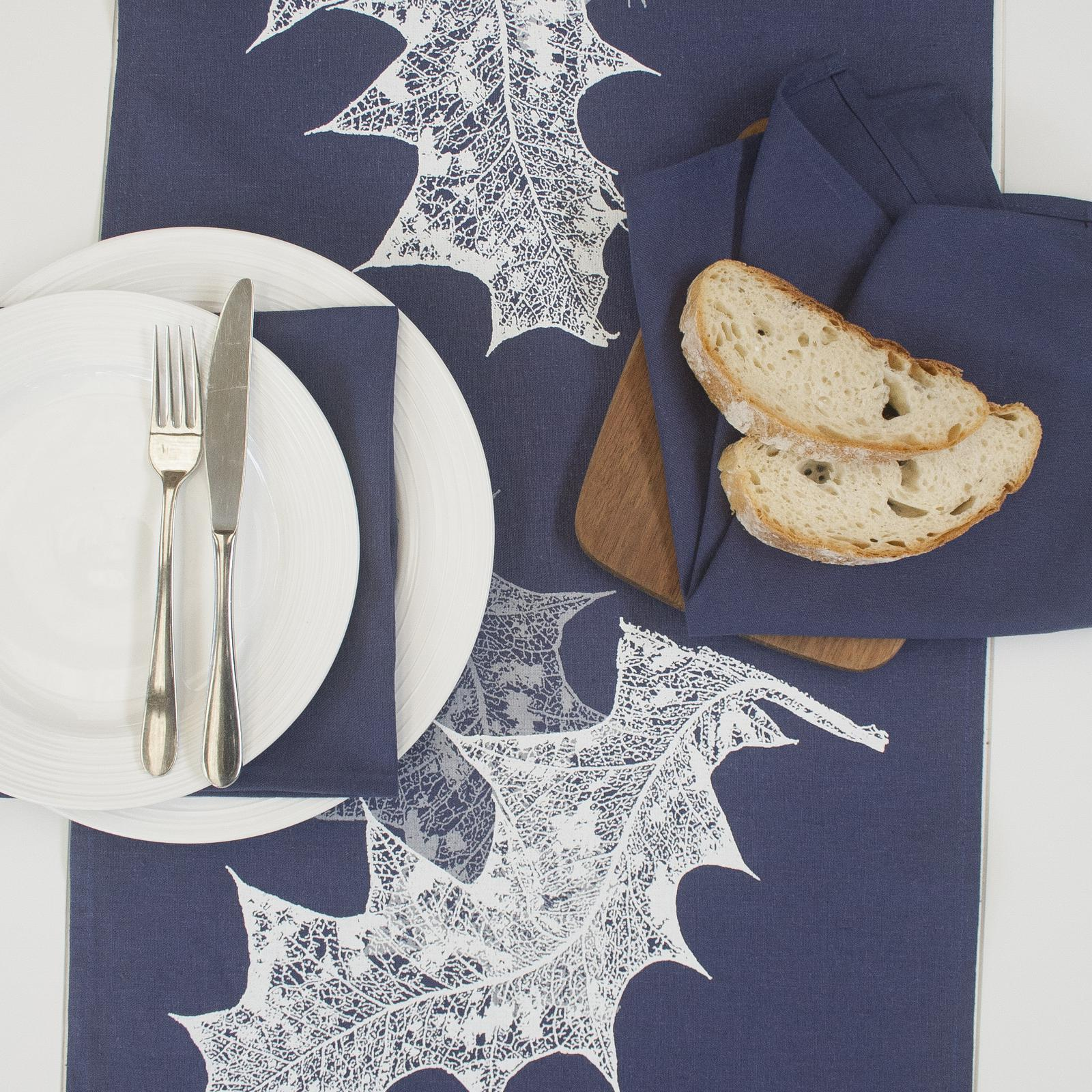 Grevillea Leaf Indigo- Napkins & Table Runner