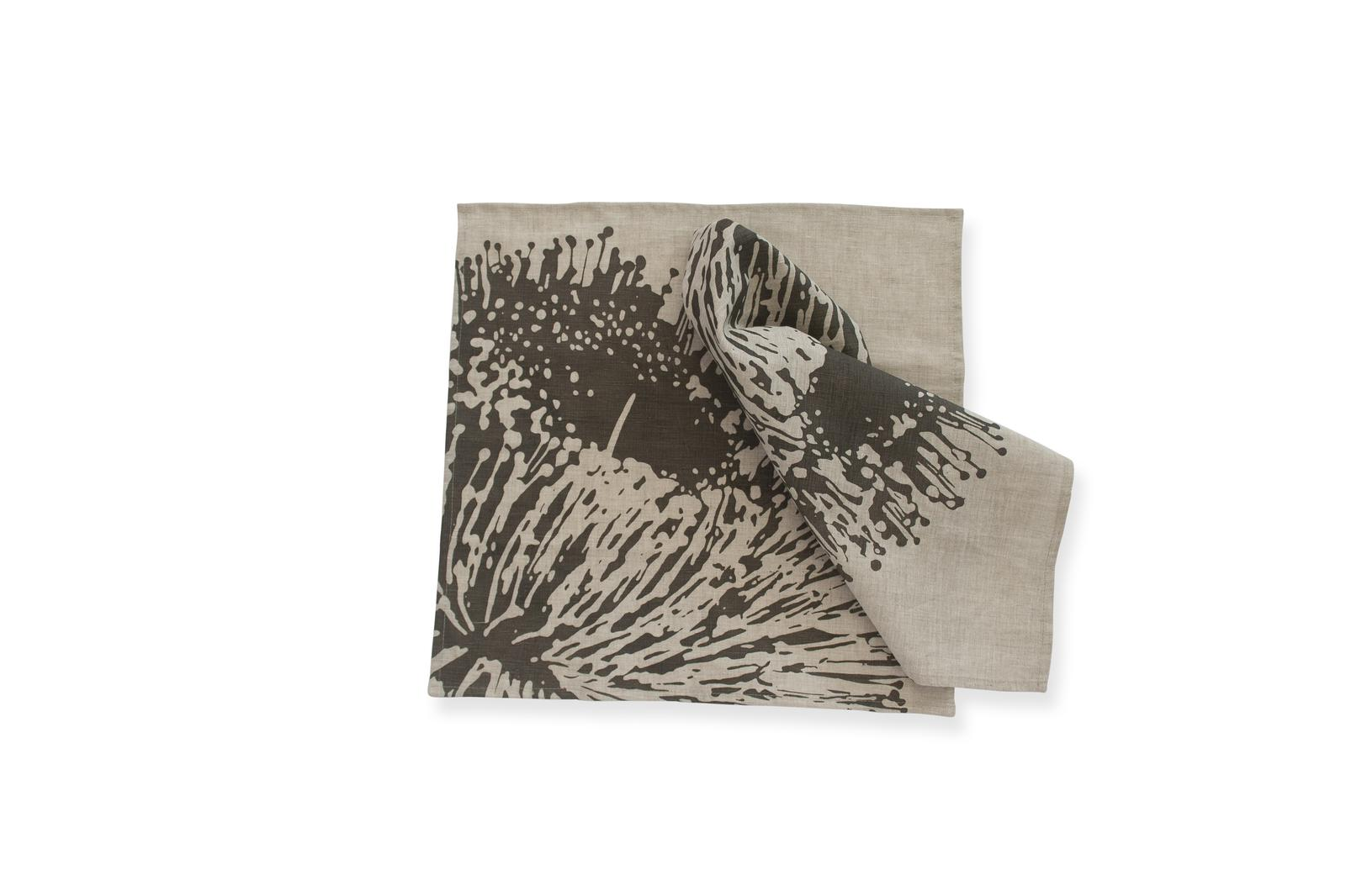Napkin Pair 'Mallee Blossom' in Charcoal