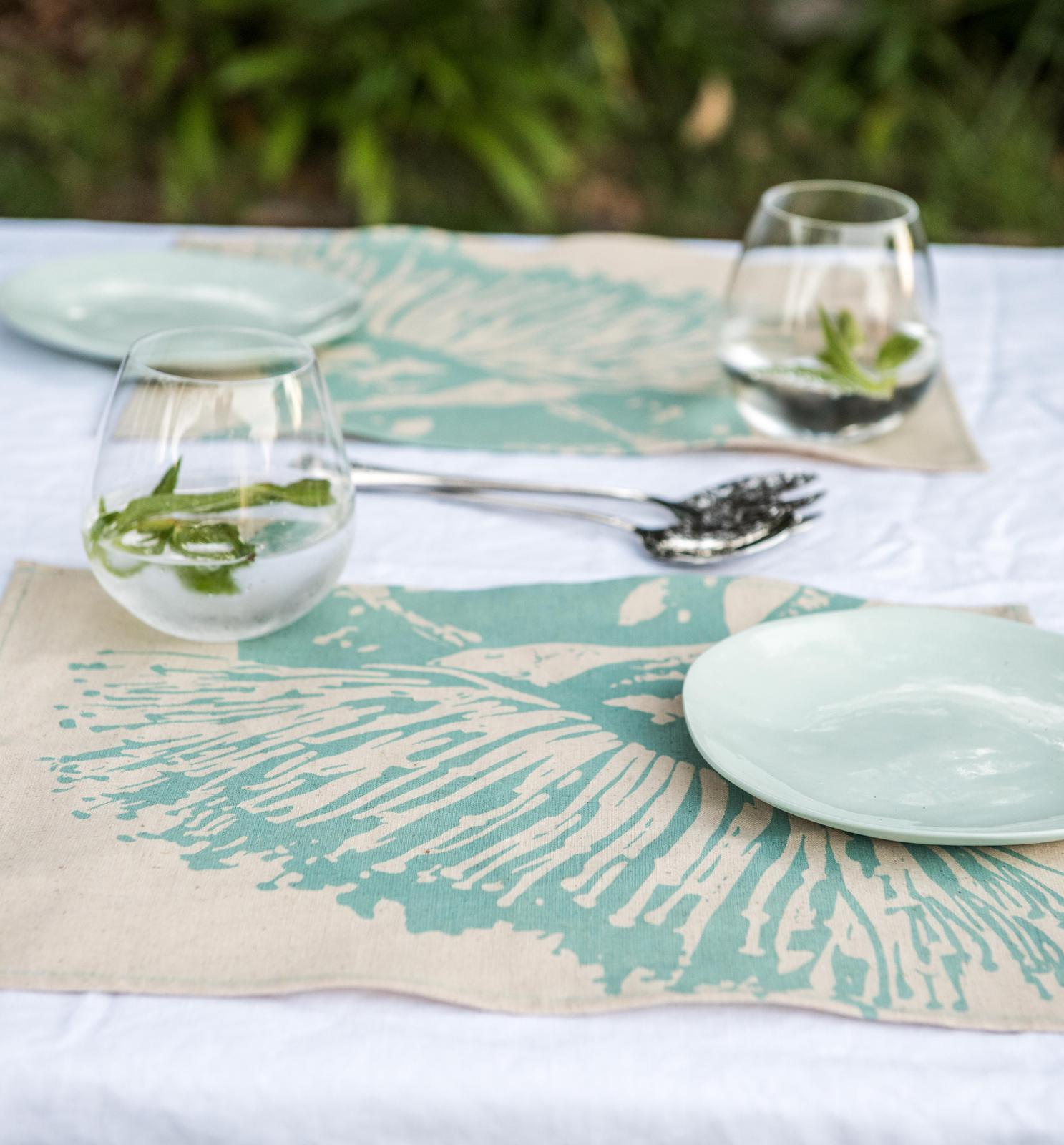 Table Setting- Placemats 'Mallee Blossom' in soft Turquoise