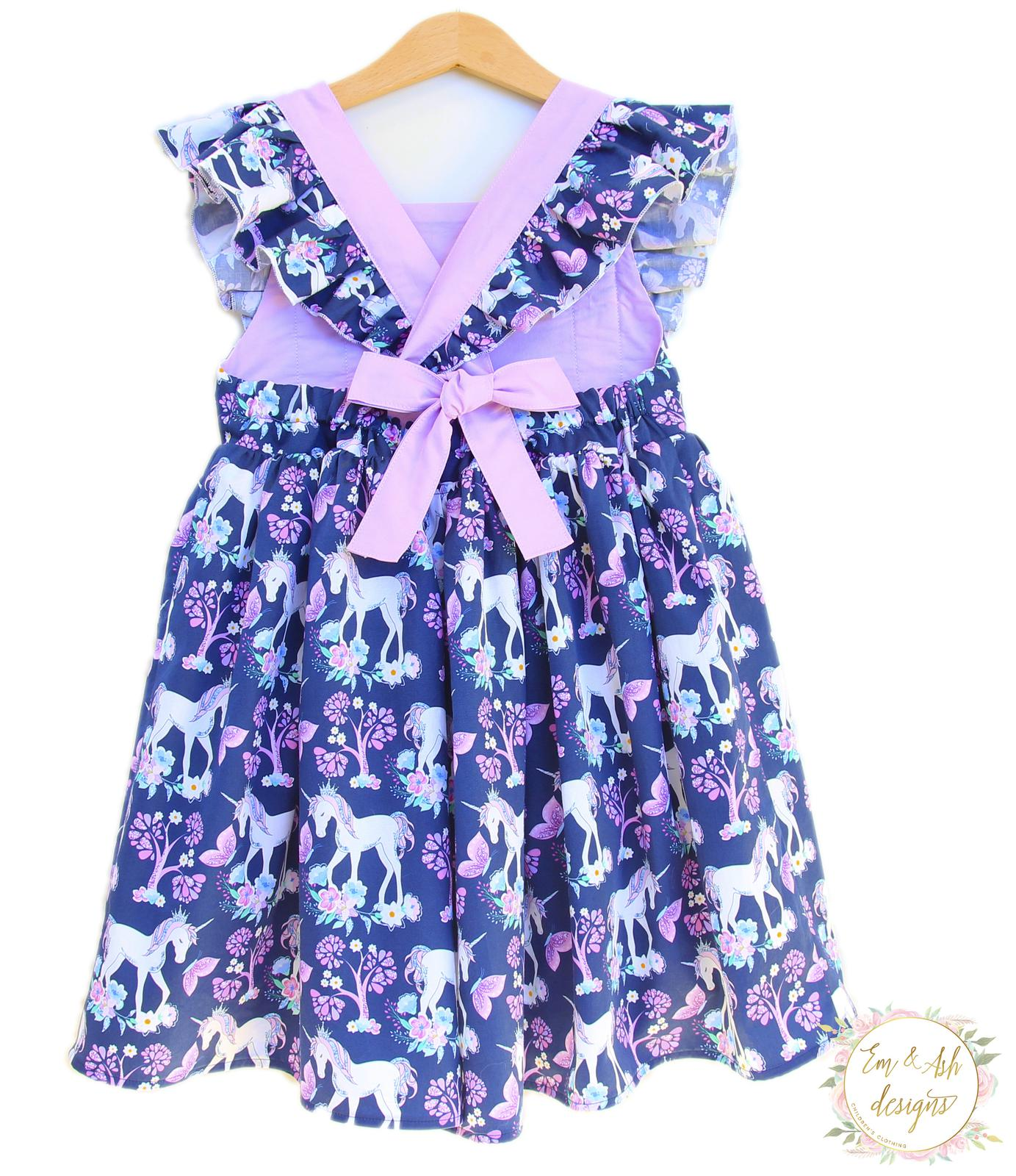 Navy flutter unicorn dress
