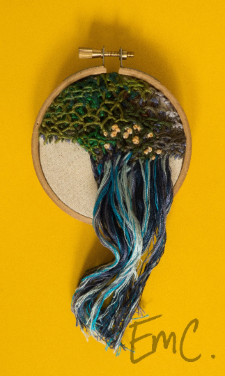 Small Handmade Abstract Landscape Hoop Embroidery