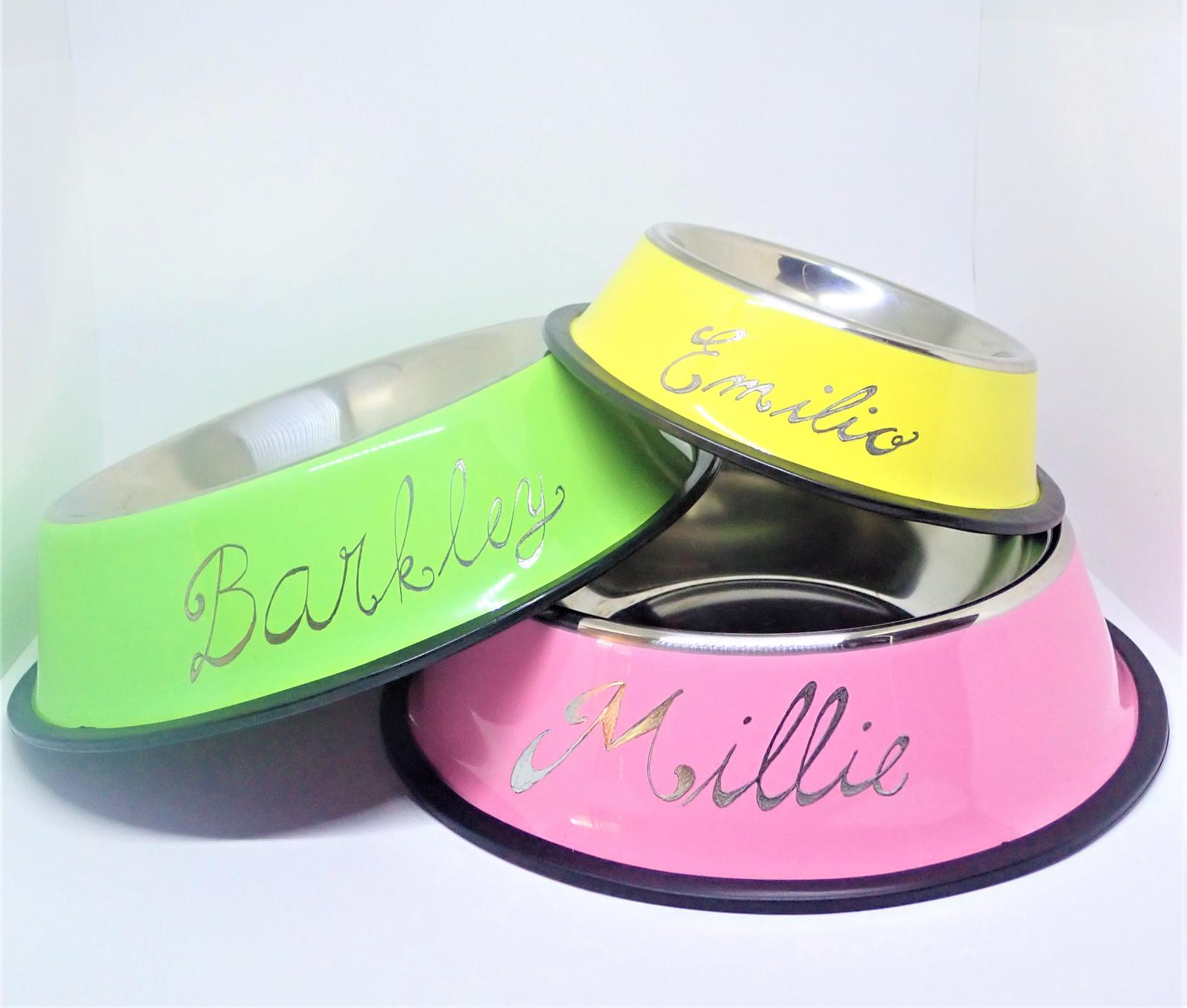 Hand Engraved Personalised Pet Bowls