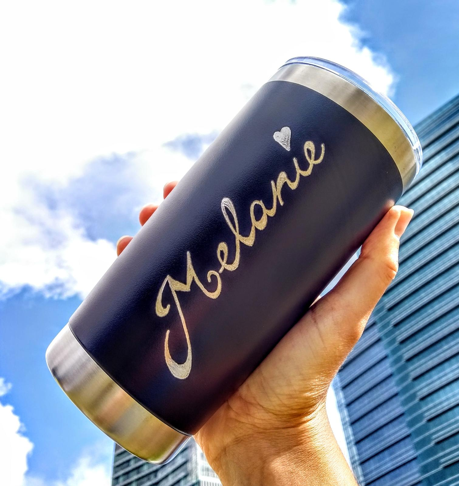 Hand Engraved Stainless Steel Reusable Travel Mugs