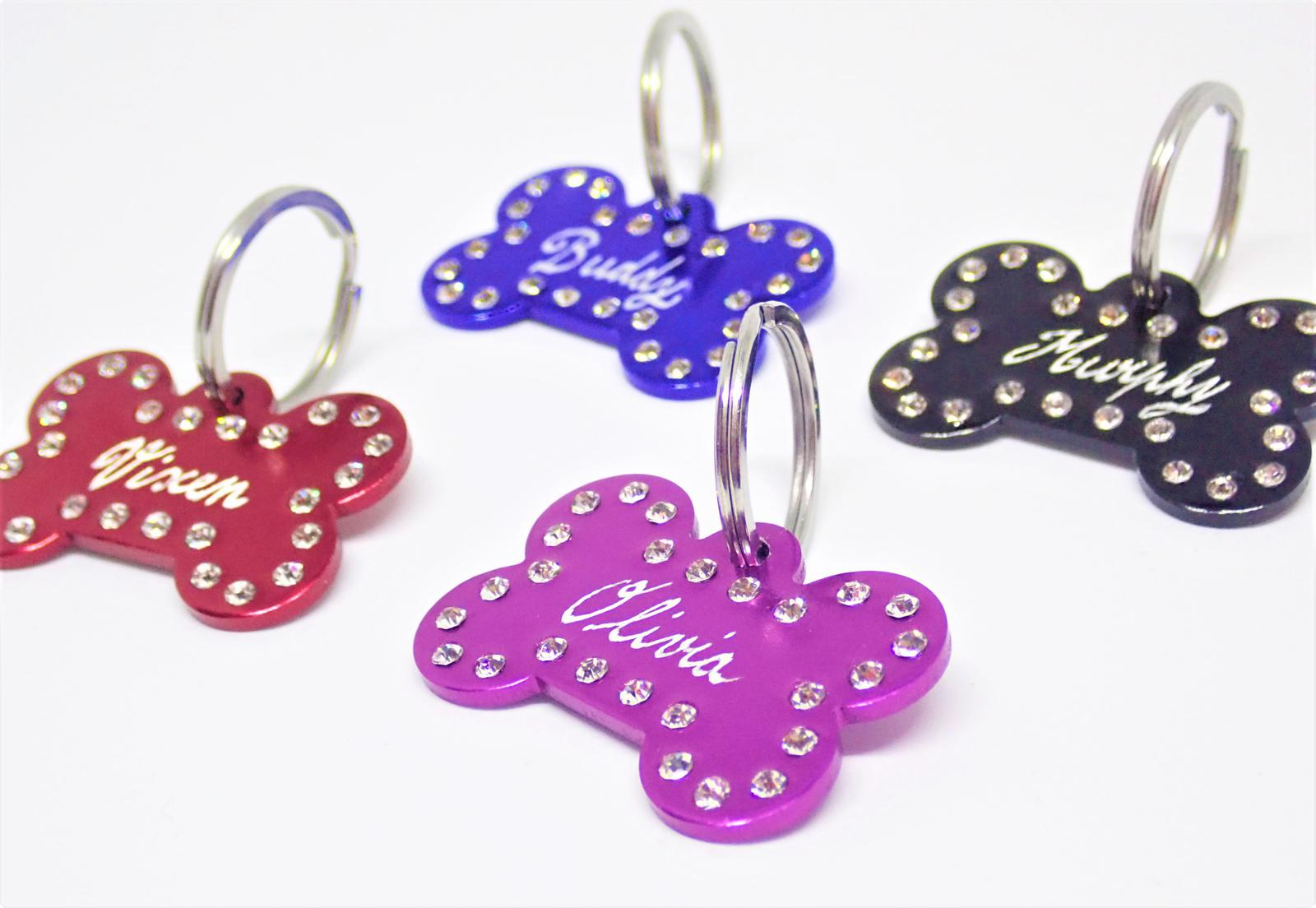 Hand Engraved Personalised Pet Tags - Diamante Decorated