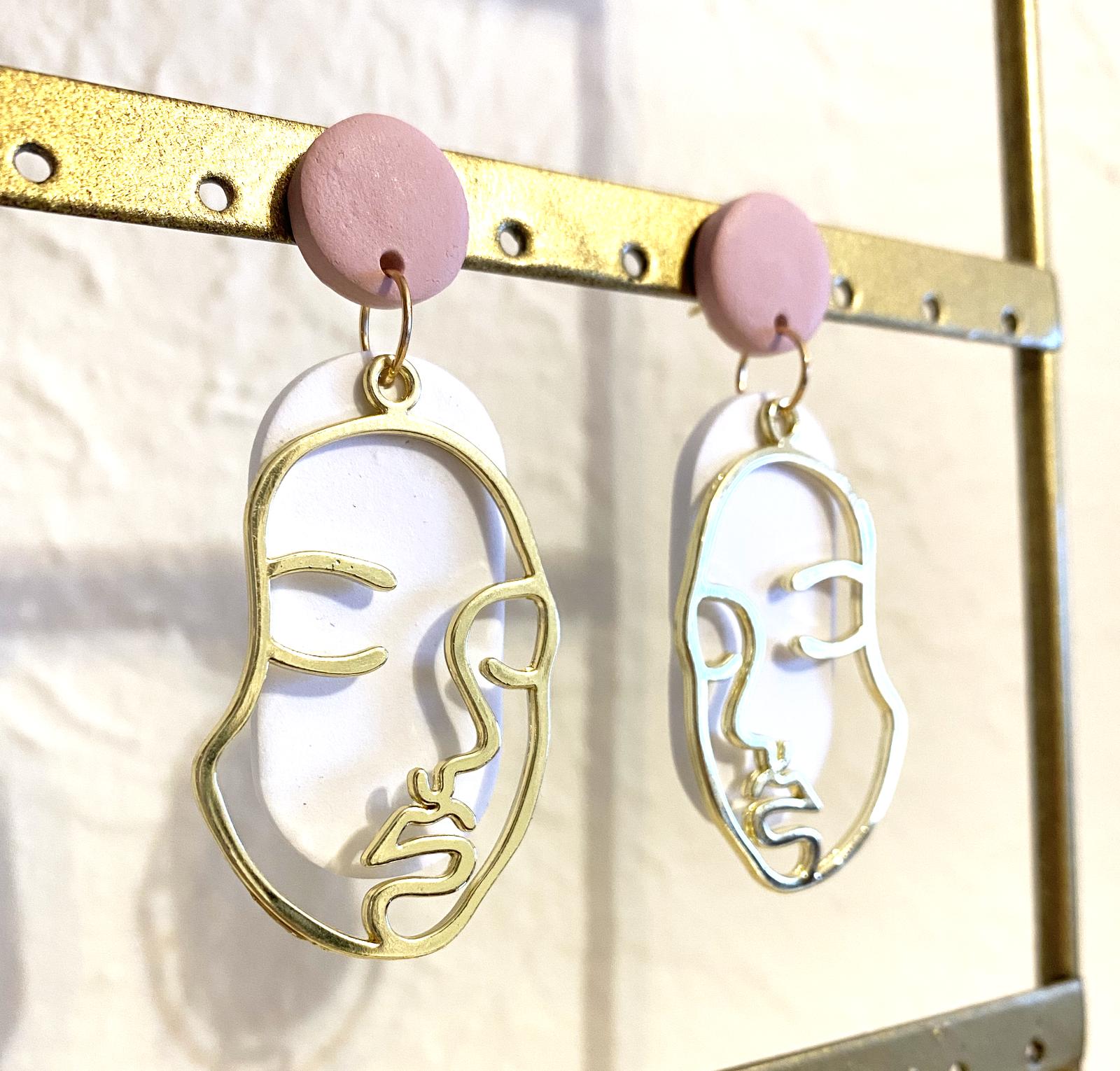 Line Art Face Earrings