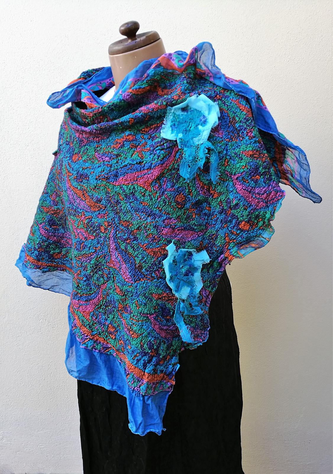 Poncho/Cape. Nuno felted with Merino wool and light cotton fabric.