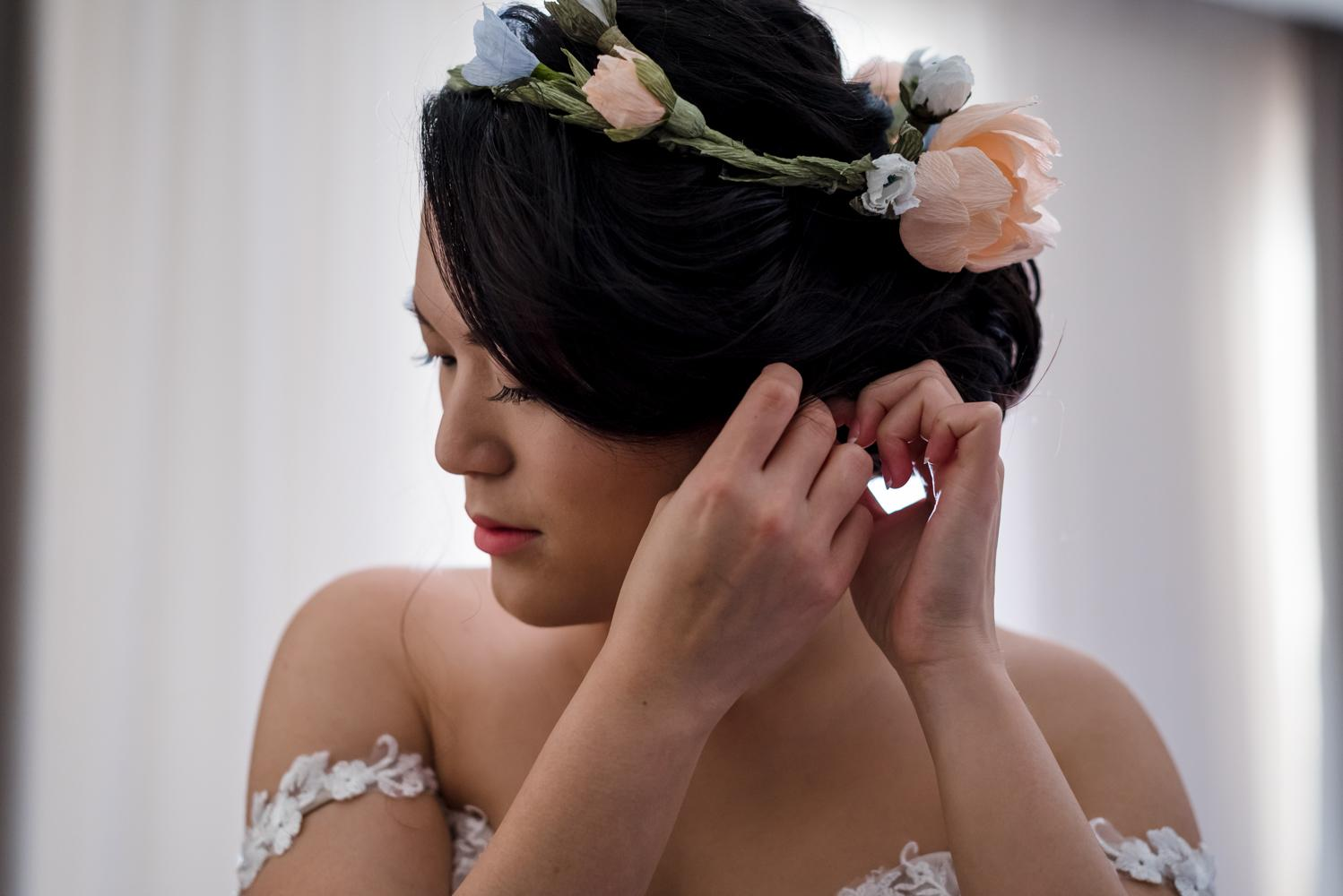 Handmade paper flower crown (Photo by Rachel Puan Photography)