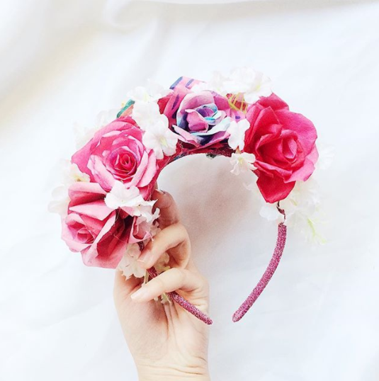 Statement flower crown with hand-dyed one-of-a-kind paper roses
