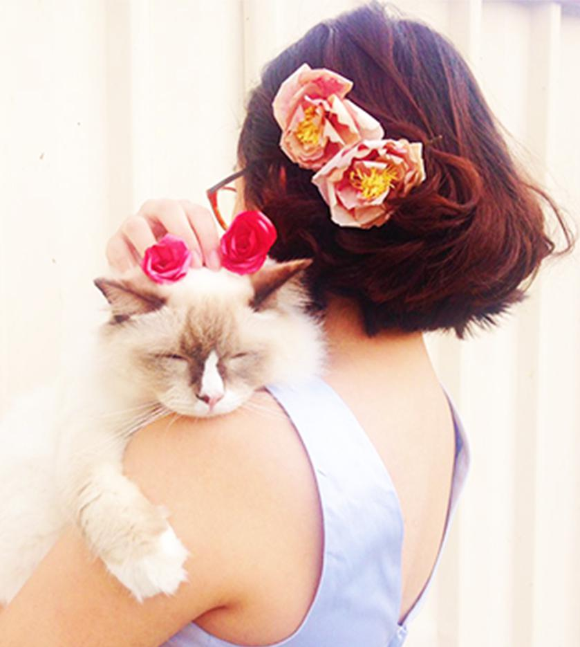 Cats and flowers make a perfect combination.