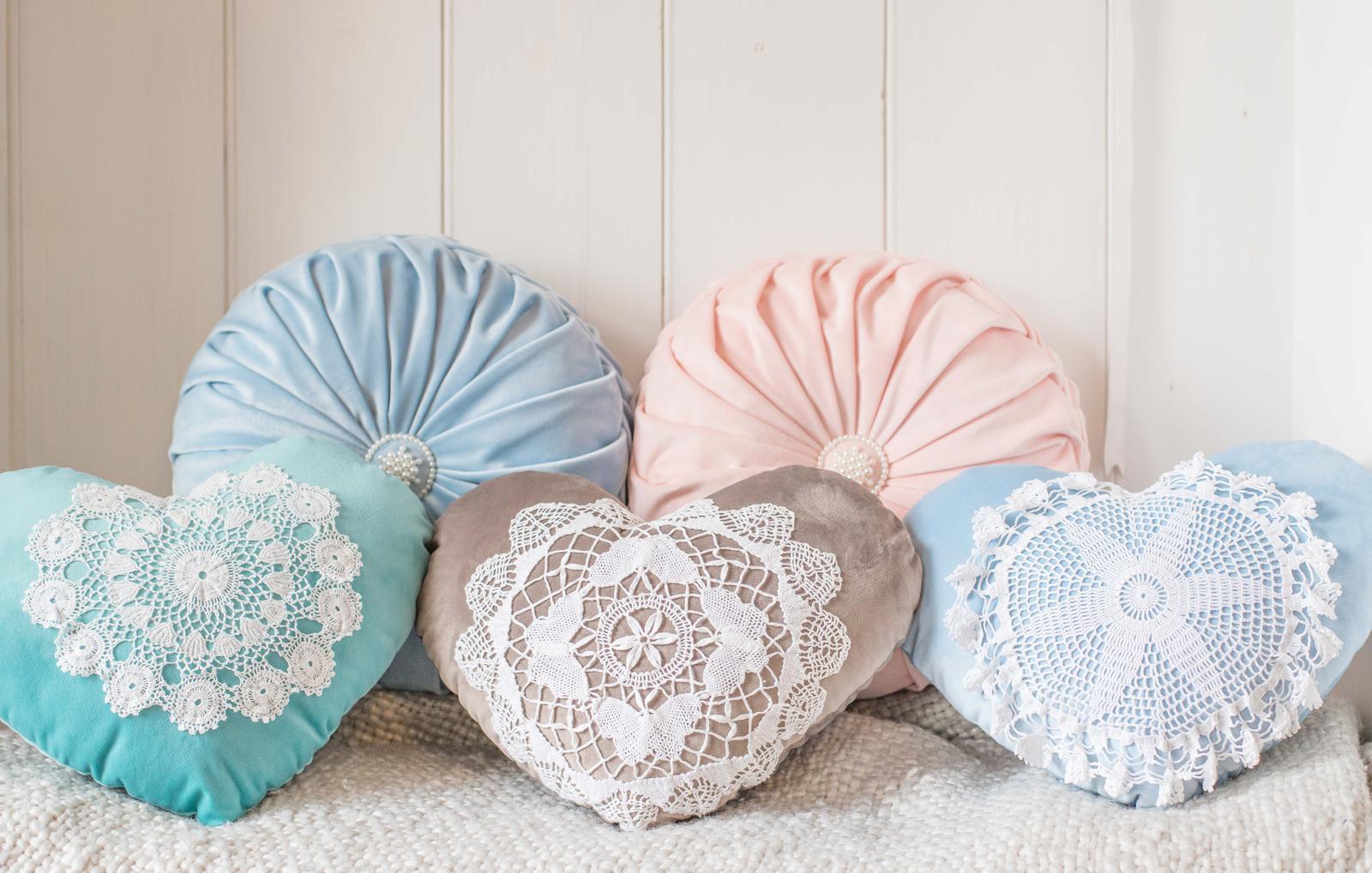 Velvet Smocked and Doily Heart Cushions