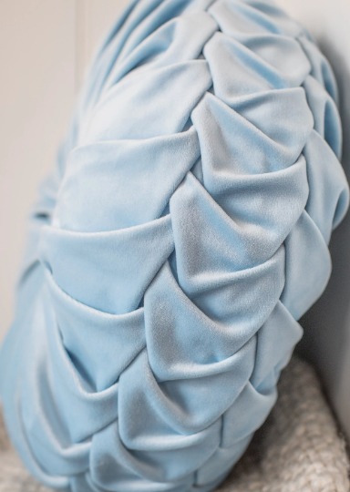 Powder Blue Velvet Smocked Cushion Side