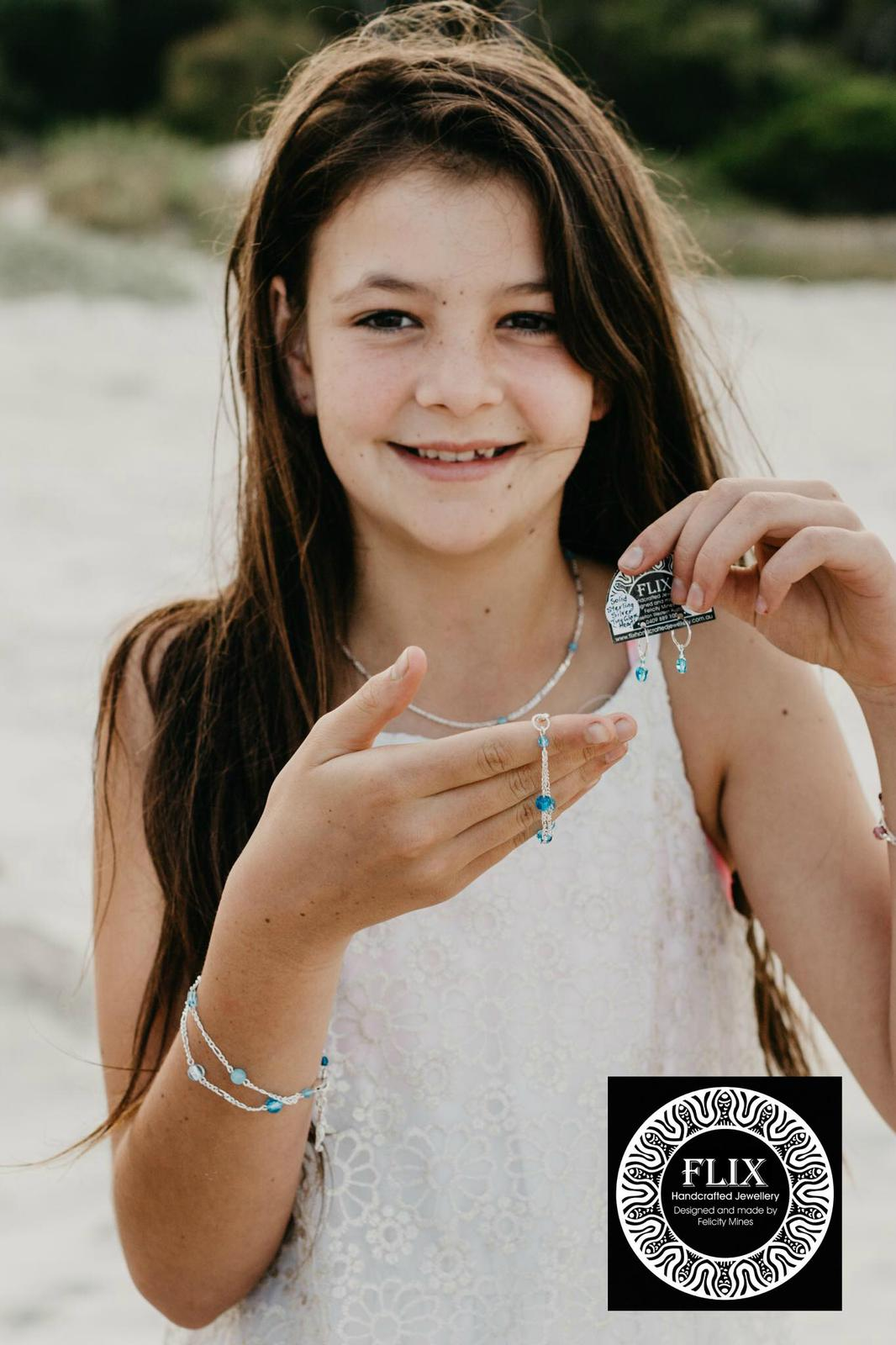 """Bunkers Ocean Blues' Bracelet, 'Sleeper Slippers' and Necklace in Girls sizes"