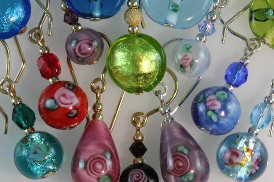Flix Handcrafted Jewellery Earrings, Murano Glass, Czech Lampwork.