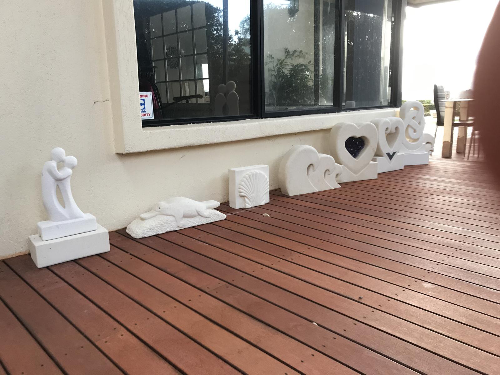 Selection of hand carved NZ limestone sculptures