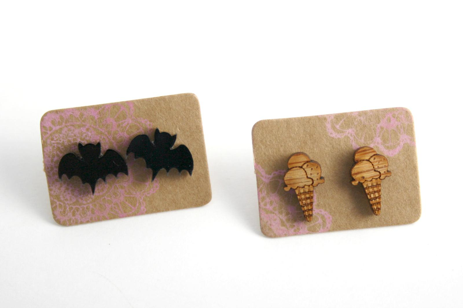 Bat and Icecream earrings