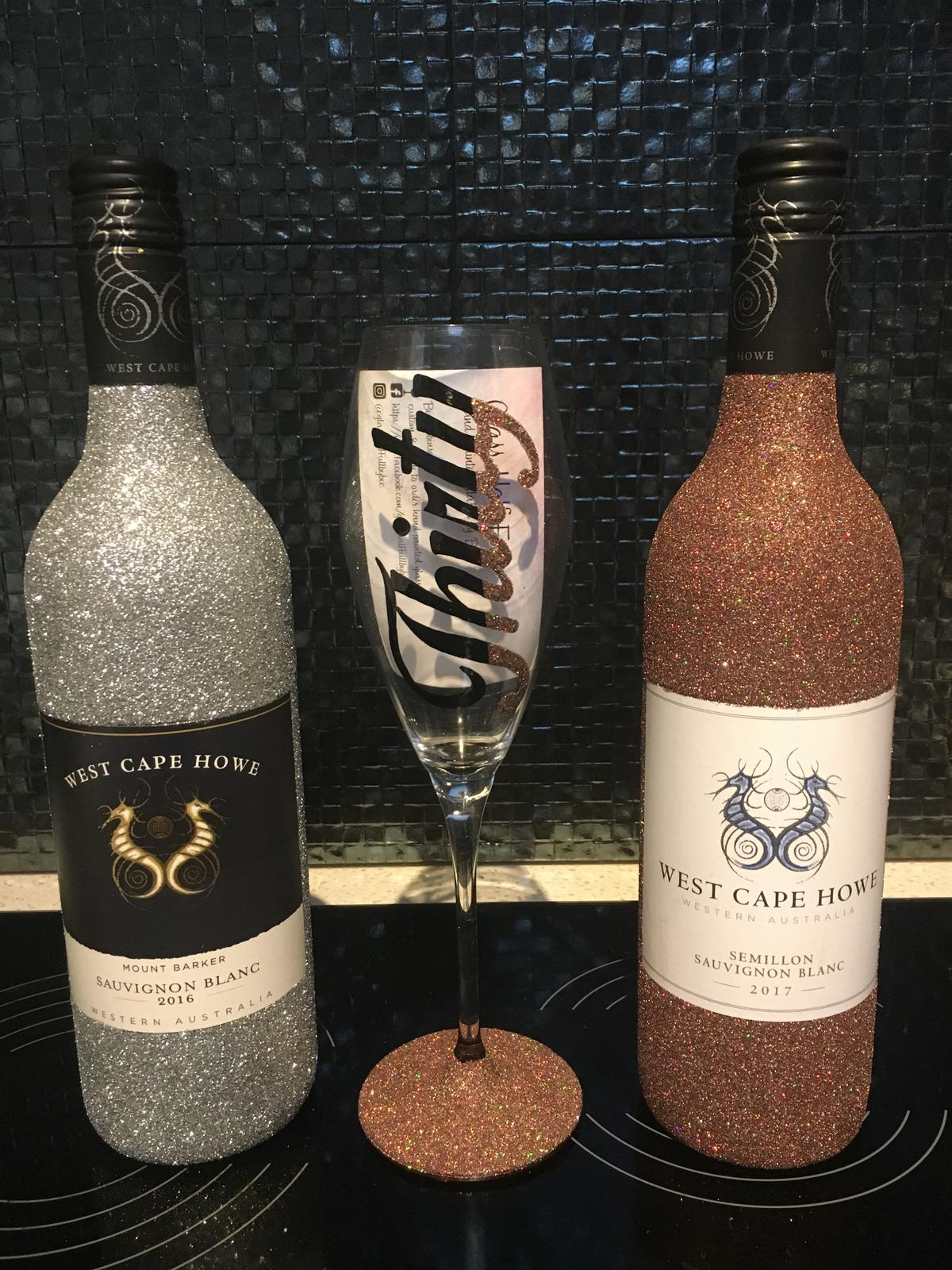 glitter bottle & glass set