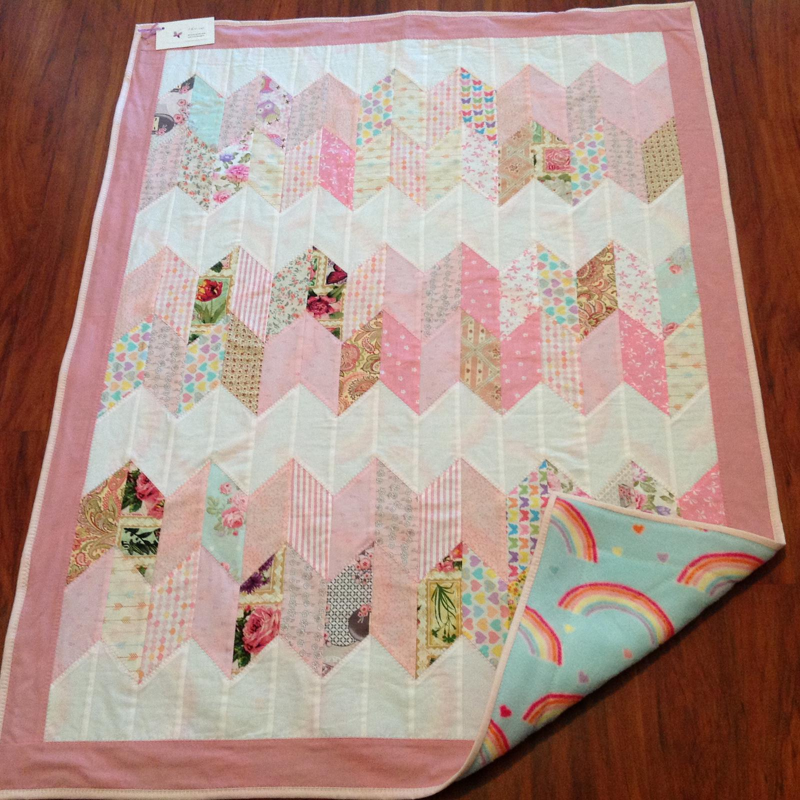Pink and white chevron cot quilt
