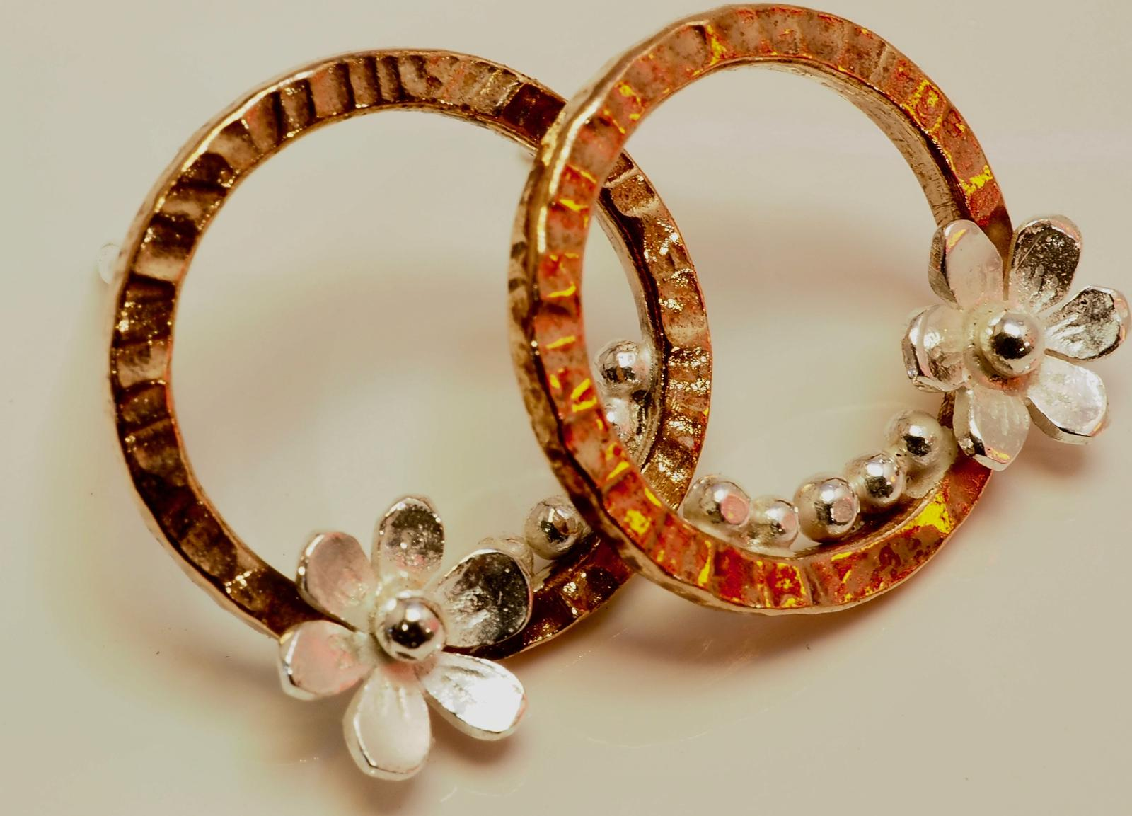 Copper flower hoops