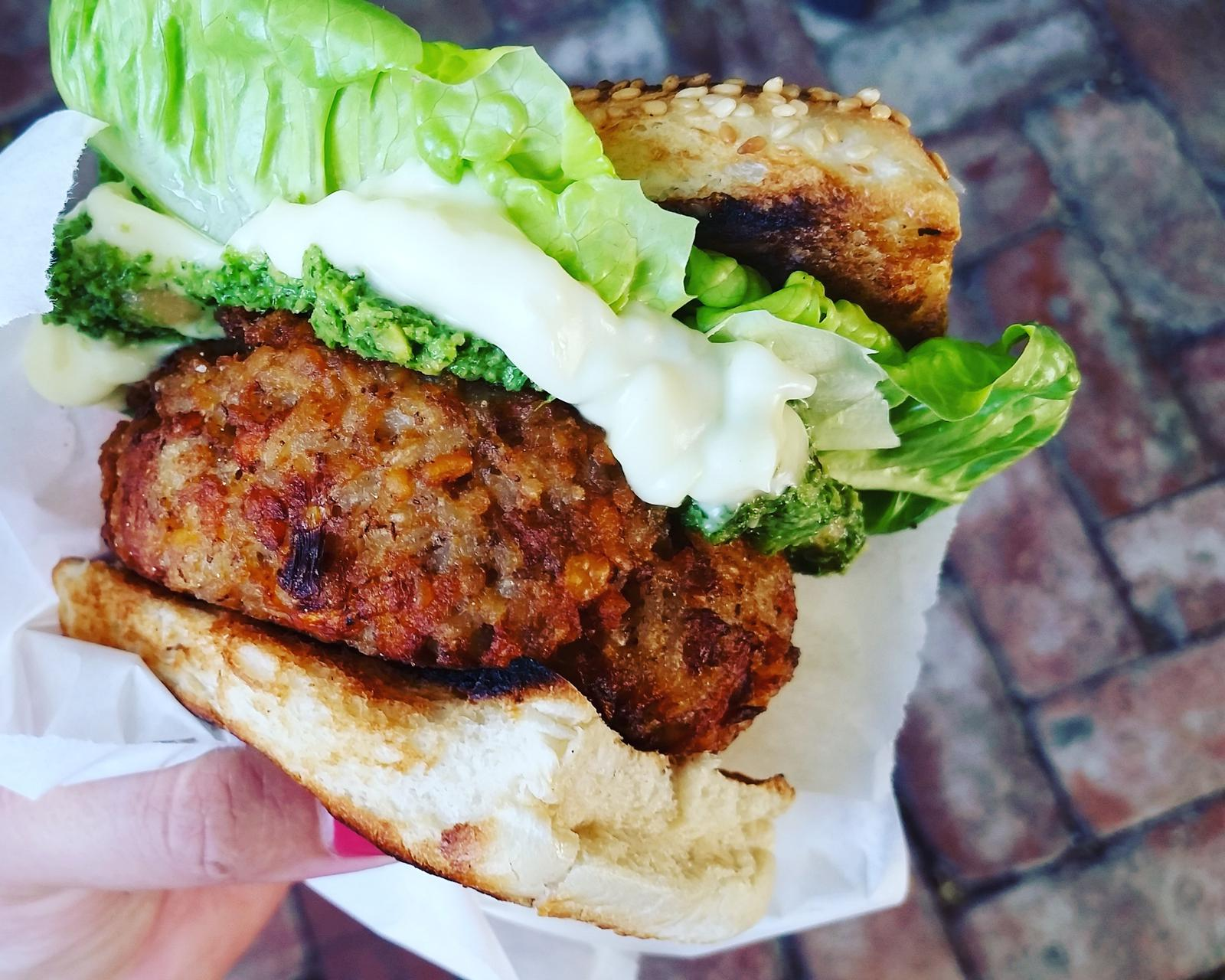 Mix beans burger with chimichurri dip, cos lettuce and aioli