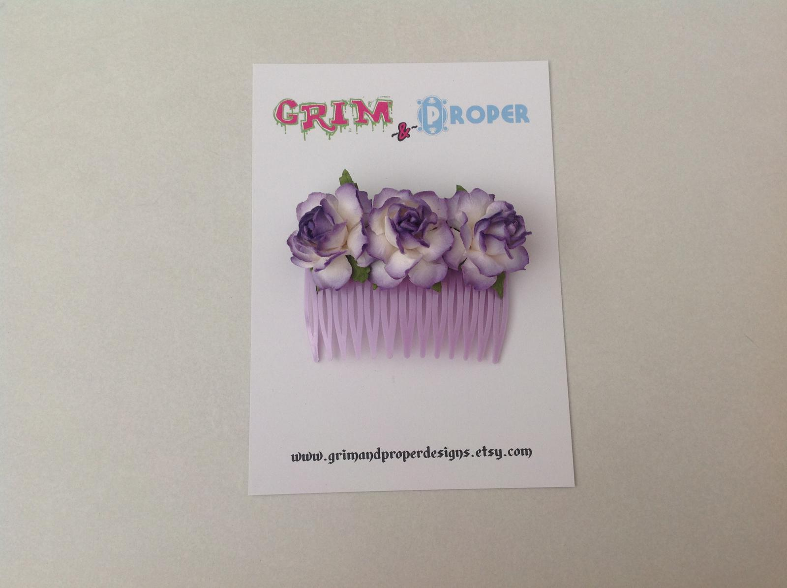 Purple rose hair comb