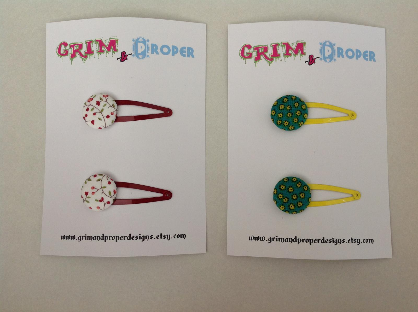 White & red floral & green & yellow floral print snap clips